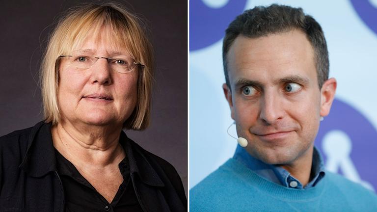 Kollage. Ekots Susanne Palme och Moderaternas Tomas Tobé.