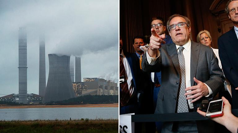 Amerikanskt kolkraftverk (t.v) och Andrew Wheeler, chef för miljöskyddsmyndighet EPA i USA (t.h).