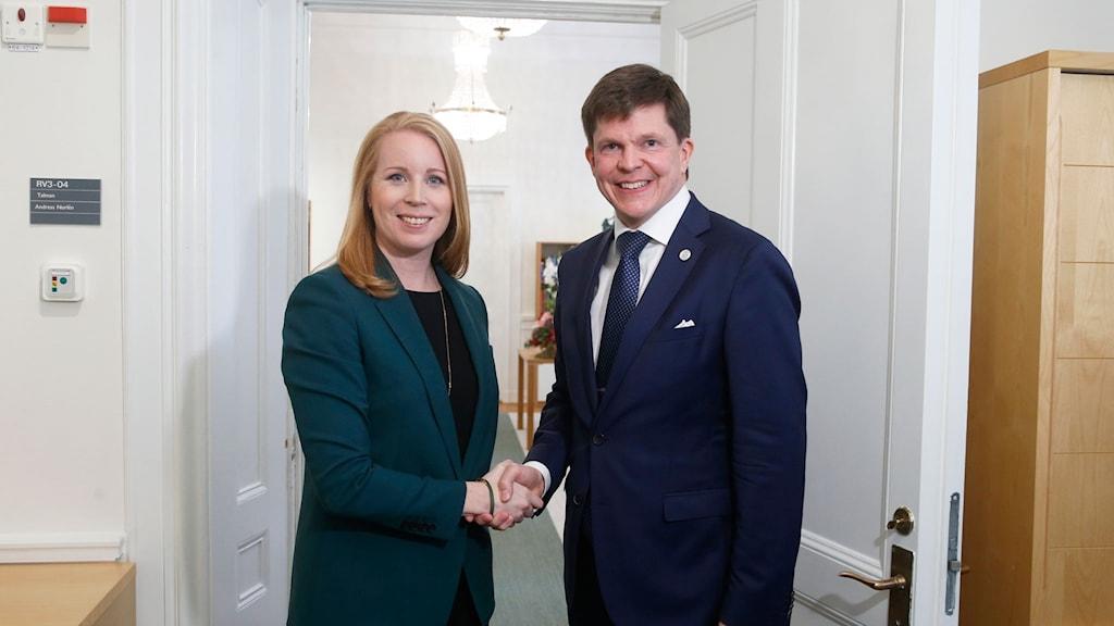 Annie Lööf hos talmannen