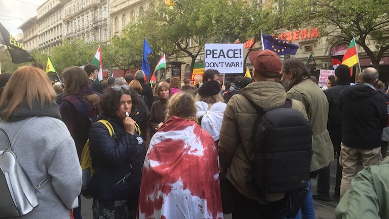 Protester i Budapest.