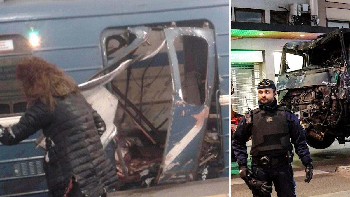Bild på tunnebanedådet i St Petersburg och på lastbilen från dådet i Stockholm.