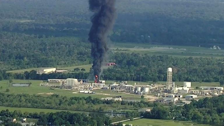 Brand på kemikaliefabrik i Texas.