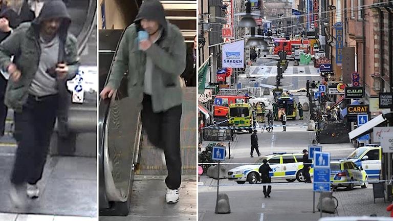 Polisens bilder på mannen de vill komma i kontakt med och Drottninggatan efter attentatet.