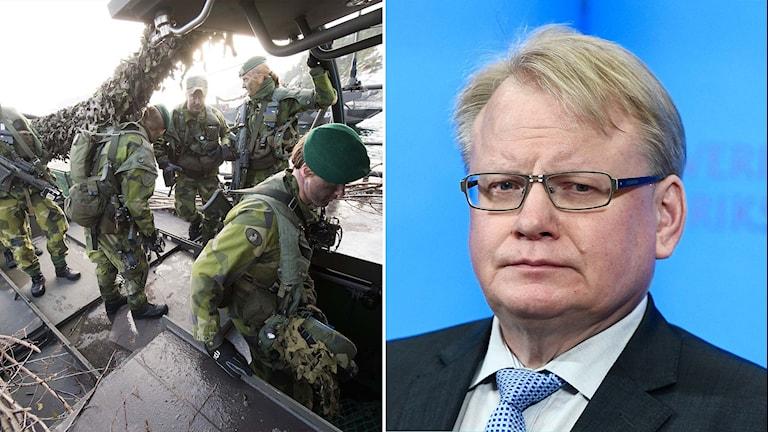 Svenska militärer och försvarsminister Peter Hultqvist (S).
