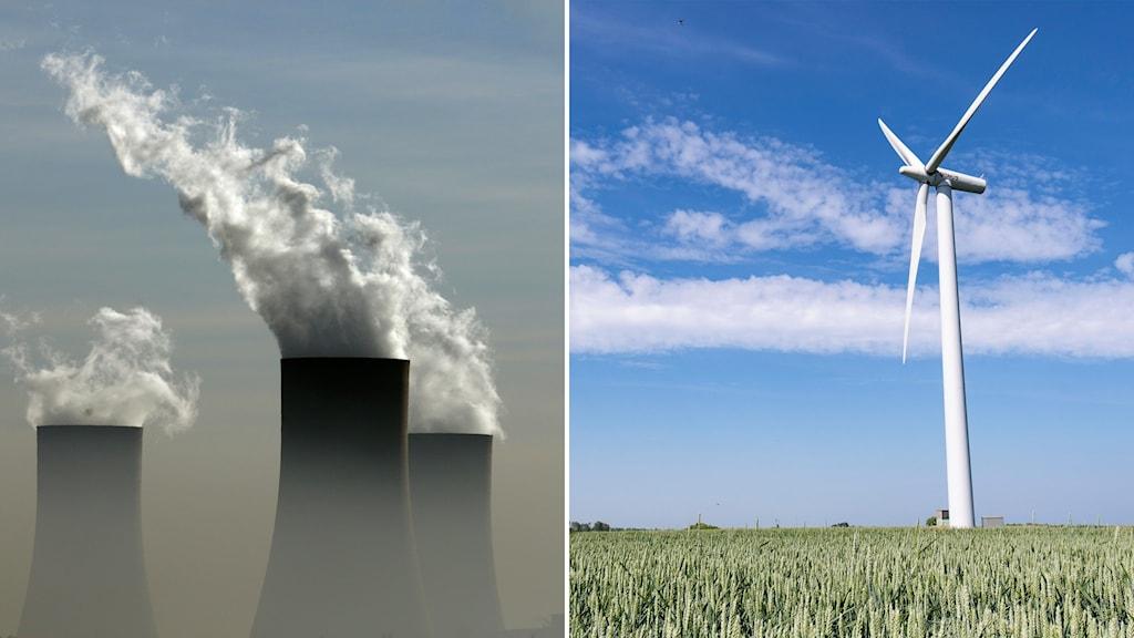Delad bild: rök från ett kolkraftverk, ett vindkraftverk en solig dag.