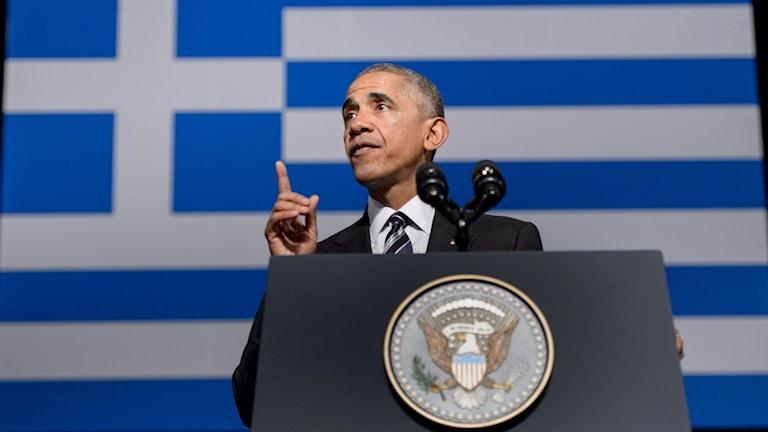 Barack Obama håller tal i Aten