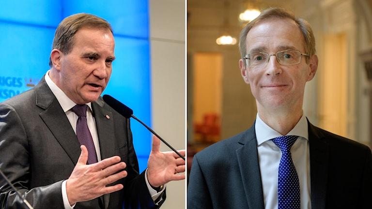 Stefan Löfven och SEB:s chefsekonom Robert Bergqvist.