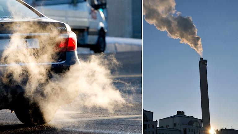 Montage på bil som släpper ut avgaser och rök från en fabrik.