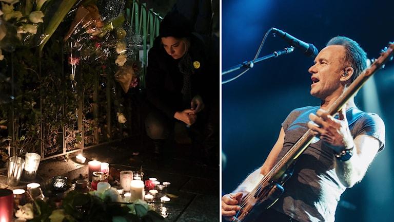 Delad bild: En kvinna tittar på tända ljus till minne av offren, samt bild på Sting under konserten.