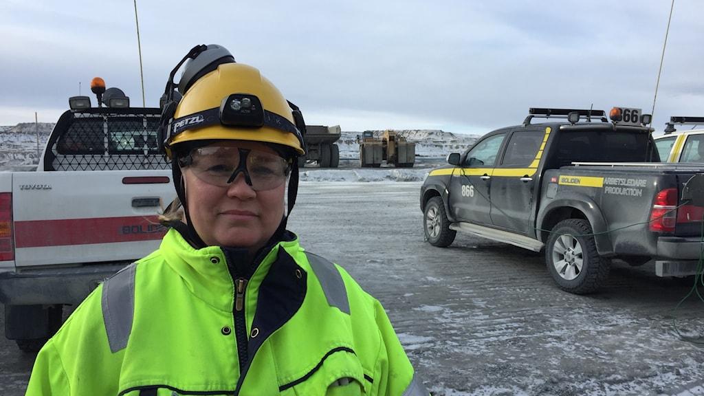 Lotta Fjord Zedig som är truckförare i Aitik.