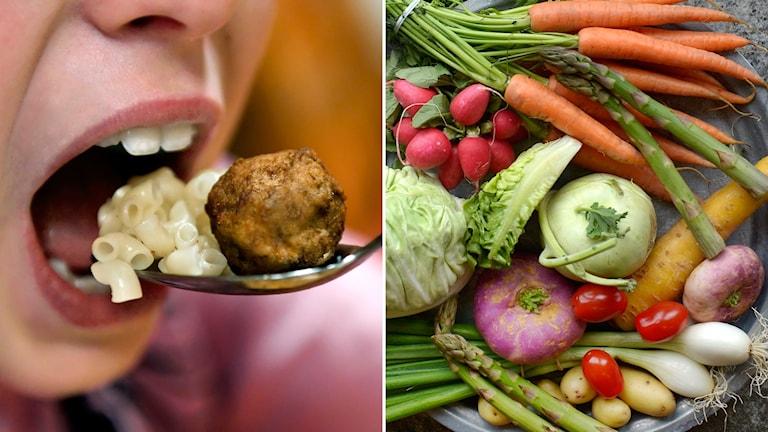 kött, grönsaker, skolmat