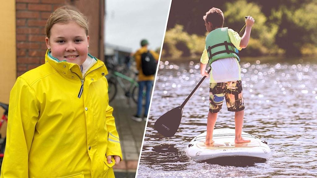 Tvådelad bild: en 12-årig flicka fotograferad på skolgården och ett barn som är på en sup-bräda på vatten under en solig sommardag.
