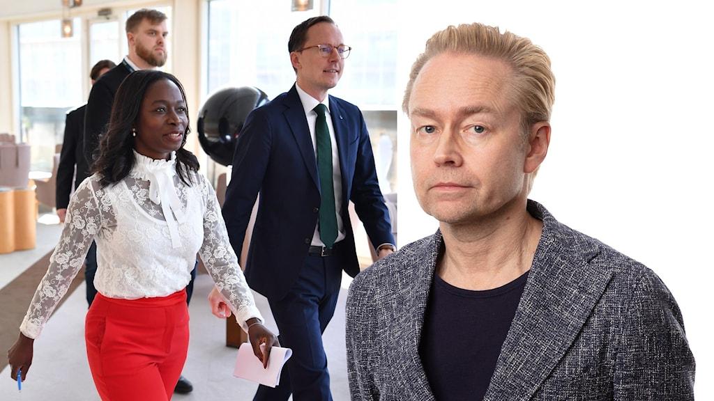 Montage med Liberaleras ledare och Ekots politikkommentator Fredrik Furtenbach