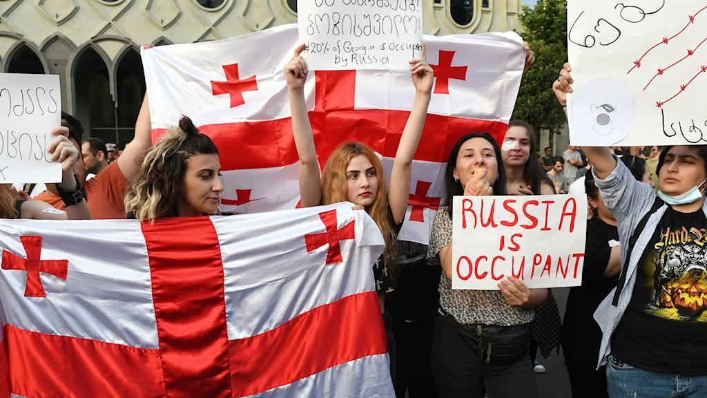 Demonstranter i Georgien.