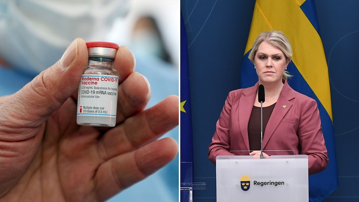 Montage med coronavaccin och socialminister Lena Hallengren.