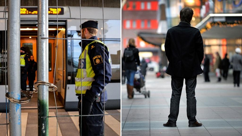 Polis vid gränskontroll i Hyllie och genrebild på papperslös flykting