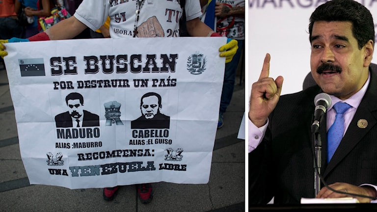 Protester mot Nicolás Maduro, president i Venezuela.