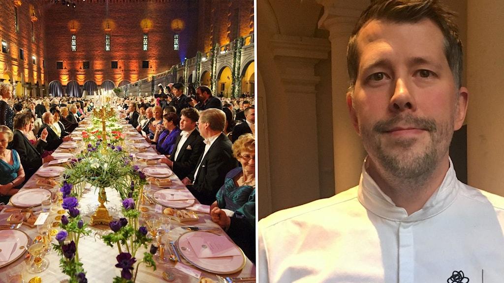Daniel Roos står för desserten under Nobelmiddagen i Blå hallen i Stockholms stadshus.