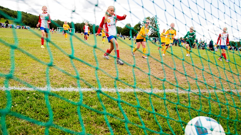 Ett fotbollsmål.