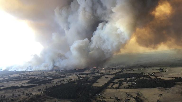 Kraftig rök över ett landskap.