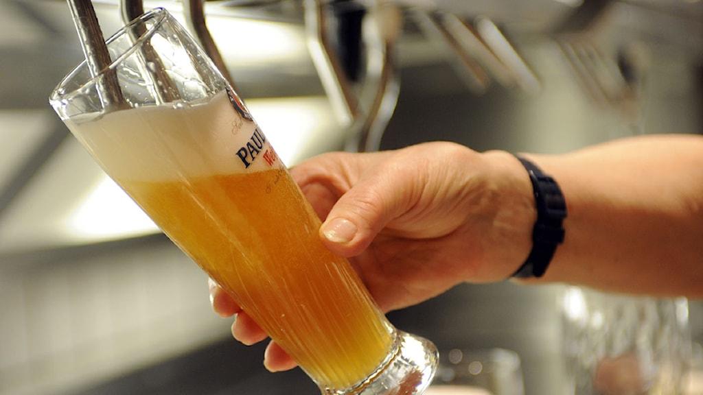 En öl hälls upp på en krog i München. Foto: Uwe Lein/Scanpix.
