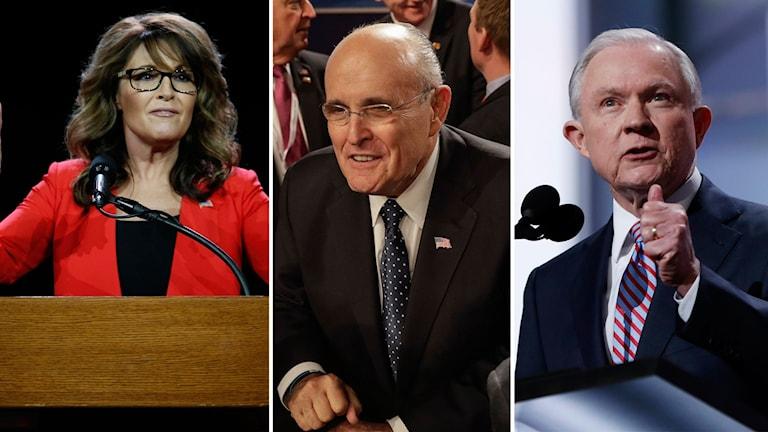 Delad bild: Sarah Palin, Rudy Giuliani och Jeff Sessions.