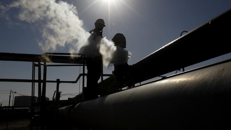 Ett oljeraffinaderi i  Brega, Libyen. Arkivbild.