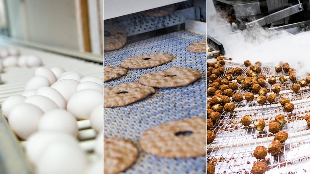Tredelad bild: Ägg i fabrik, knäckebröd i ugn, falafelbollar i en fabrik.