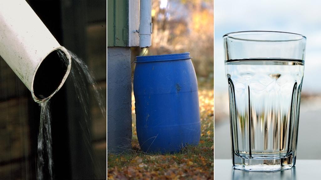 Stuprör,vattentunna och dricksglas med vatten.