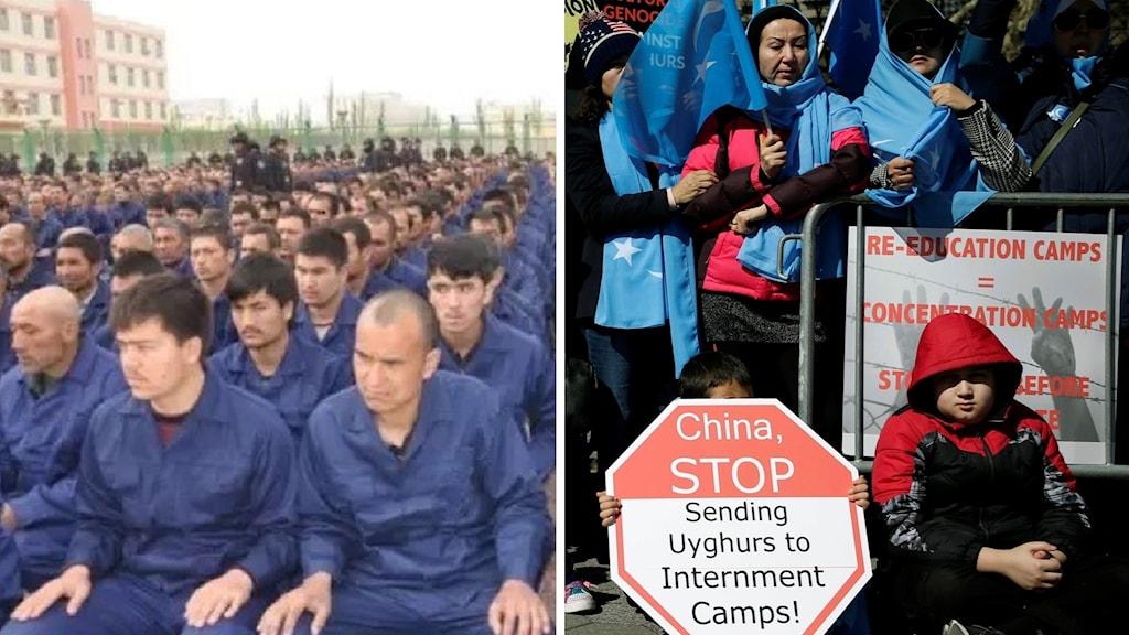 Män i blå uniform uppradade och folk med skyltar.