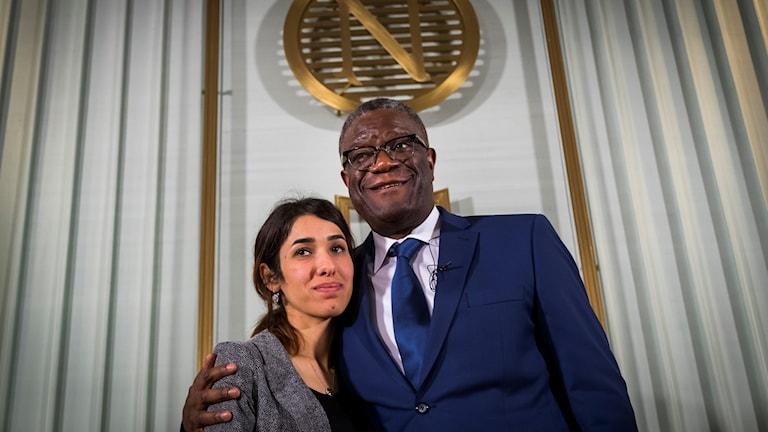 Nobelprisvinnarna Nadia Murad och Denis Mukwege