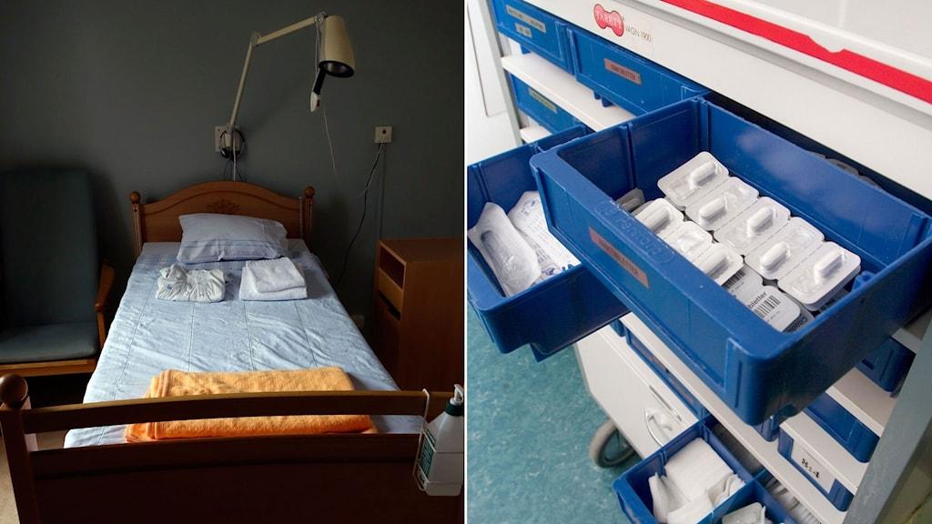 Tom sjukhussäng till höger, lådor mediciner till vänster.
