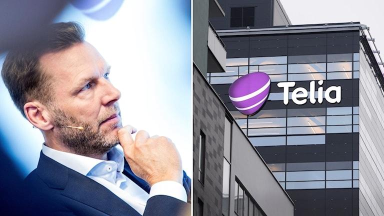 Man i kostym och byggnad med Telias logotyp.