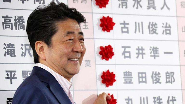 Shinzo Abe firar framför kandidaterna i hans parti som gått vinnande i sina valkretsar.