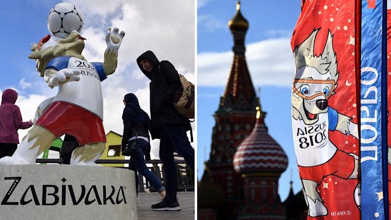 Flaggor och maskot i Ryssland.