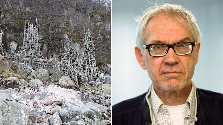 Lars Vilks och hans konstverk Nimis.