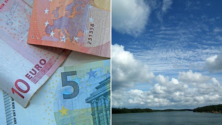 Eurosedlar och en vy över Åbo skärgård.