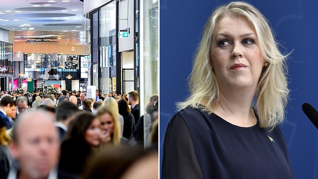 Montage med trängsel i galleria och socialminister Lena Hallengren (S)