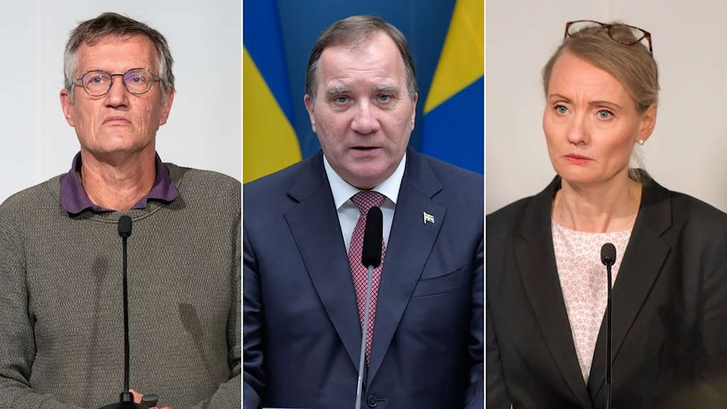 Statsepidemiolog Anders Tegnell, statsminister Stefan Löfven och Folkhälsomyndighetens avdelningschef Karin Tegmark Wisell.