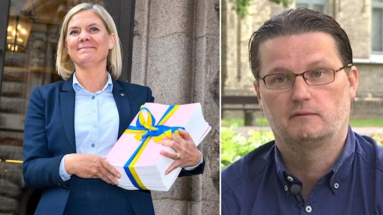 Finansminister Magdalena Andersson (S) och statsvetaren Roger Hildingsson.