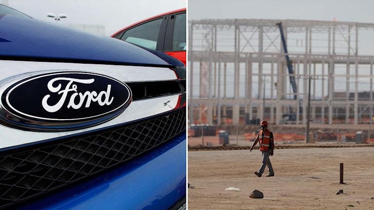 Delad bild: Bilar av märket Ford samt den fabrik i Mexiko som Ford nu lagt ner planerna på att bygga.