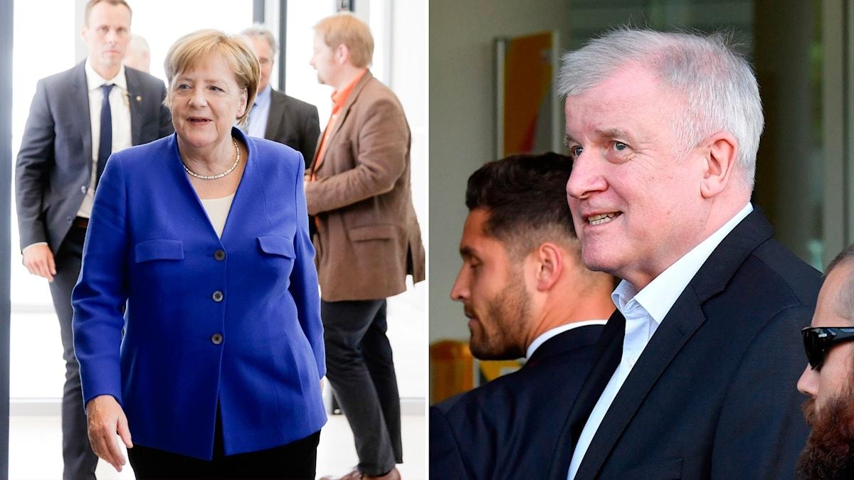 Angela Merkel och Horst Seehofers på väg in på mötet.