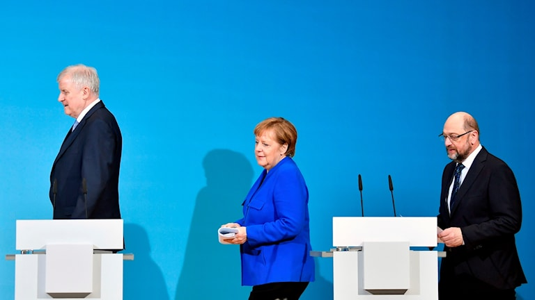 Horst Seehofer (CSU), Angela Merkel (CDU) och Martin Schulz (SPD).
