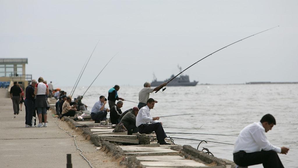 En grupp människor som fiskar i Kaspiska havet.