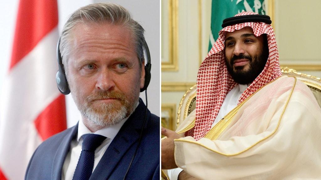 Saudiarabiens kronprins Mohammed bin Salman och  Danmarks utrikesminister Anders Samuelsen