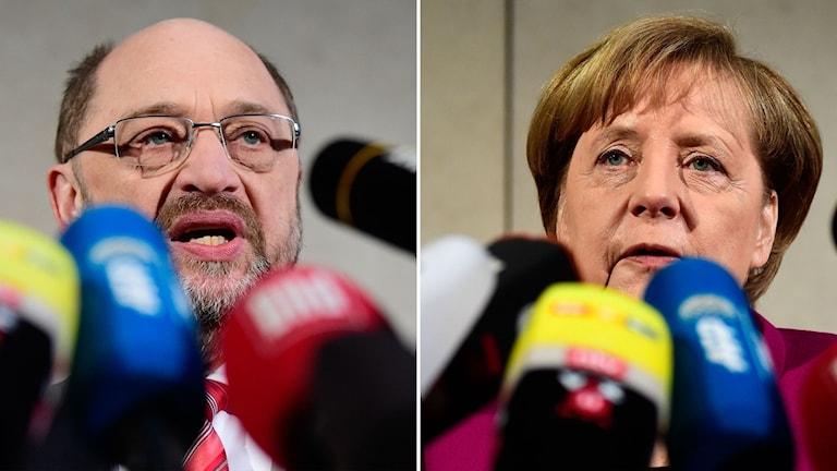 Man och kvinna framför färgglada mikrofoner