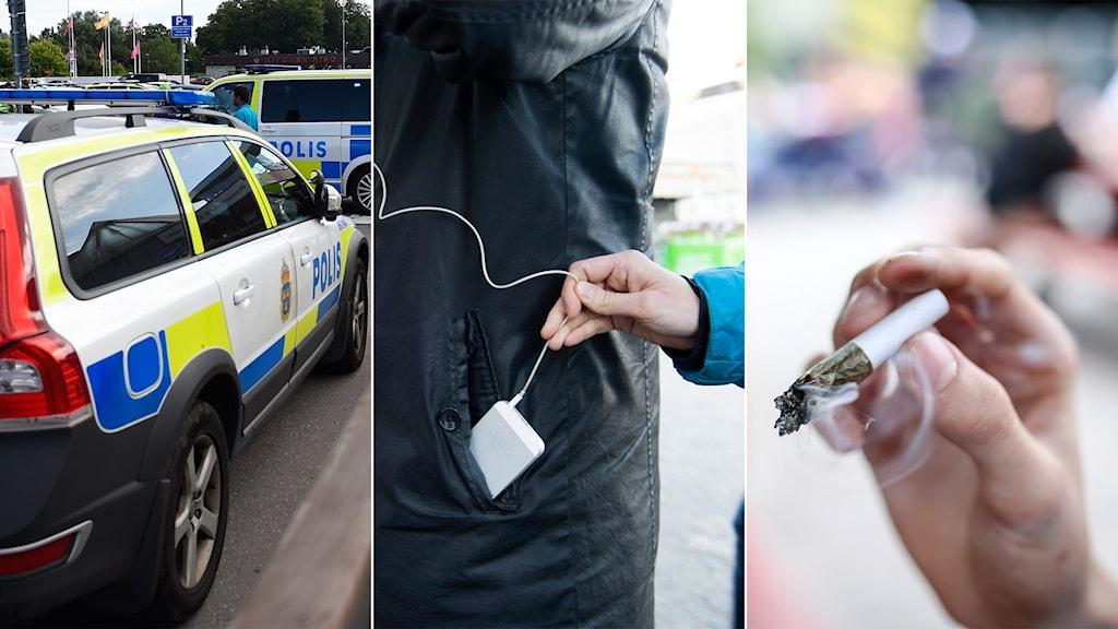 Tredelad bild: Polisbilar, fickstöld och en cannabisjoint