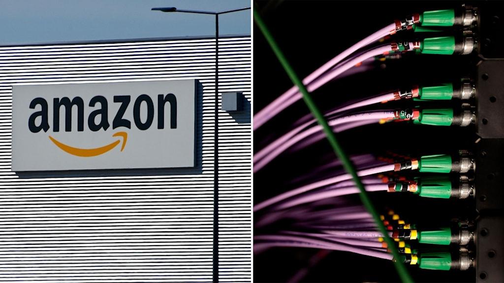 Amazon-skylt och sladdar i en datorhall