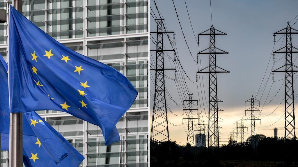 Flaggor med EU-loggan och högspänningsledningar.