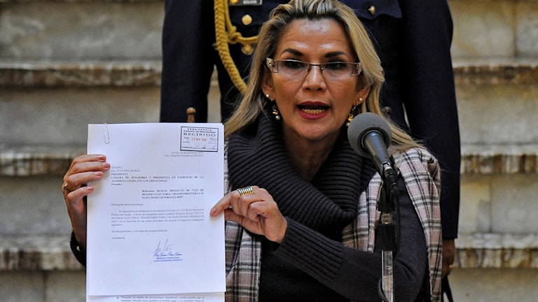 Bolivian interim President Jeanine Anez